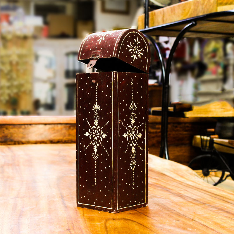 Moorni Antique Wooden Multi Color Wine Holder