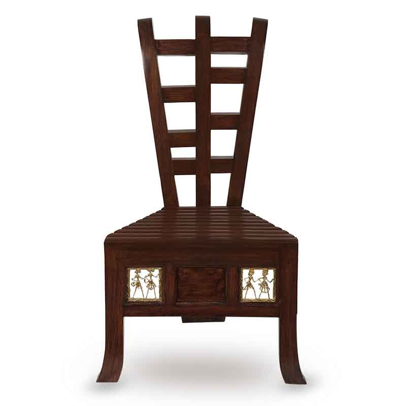 Moorni Teak Wood Low Rise Seating Chair with Dhokra Work
