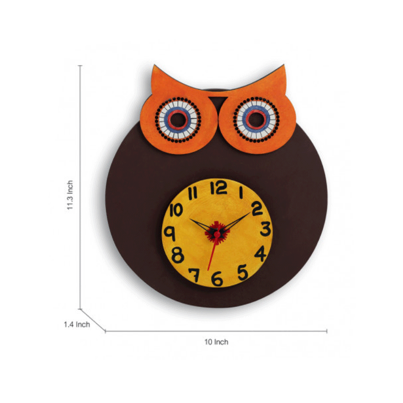 Moorni Owl Face Wooden Handcrafted Wall Clock - EL-001-058