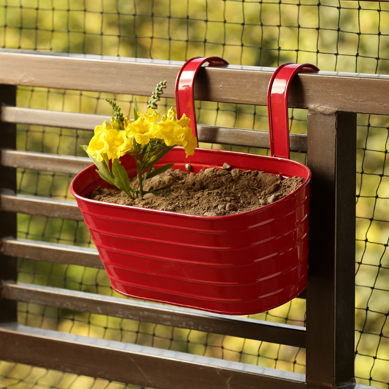 Moorni Glossy Red Hand-Painted Metal Railing Cum Table Planter Pot
