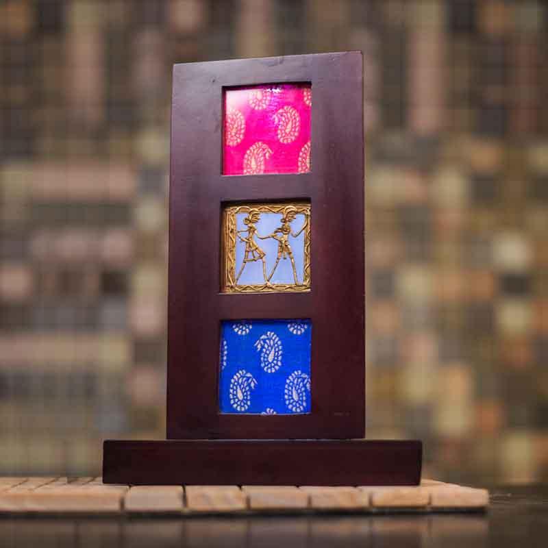 Olha-o Tribe Dhokra Art Triangle Lamp with Fabric