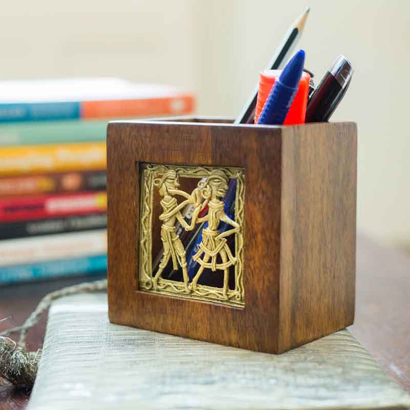Olha-o Tribe Mango Wood Pen Stand Small
