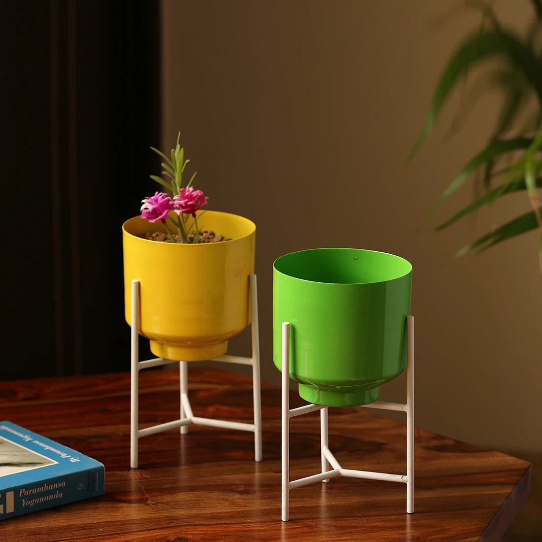 Moorni The Glossy Cylindrical Table Planter Pots With Triangular Stands In Iron (Set of 2)