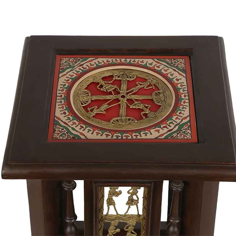 Moorni Teak Wood Warli and Dhokra Planter Table
