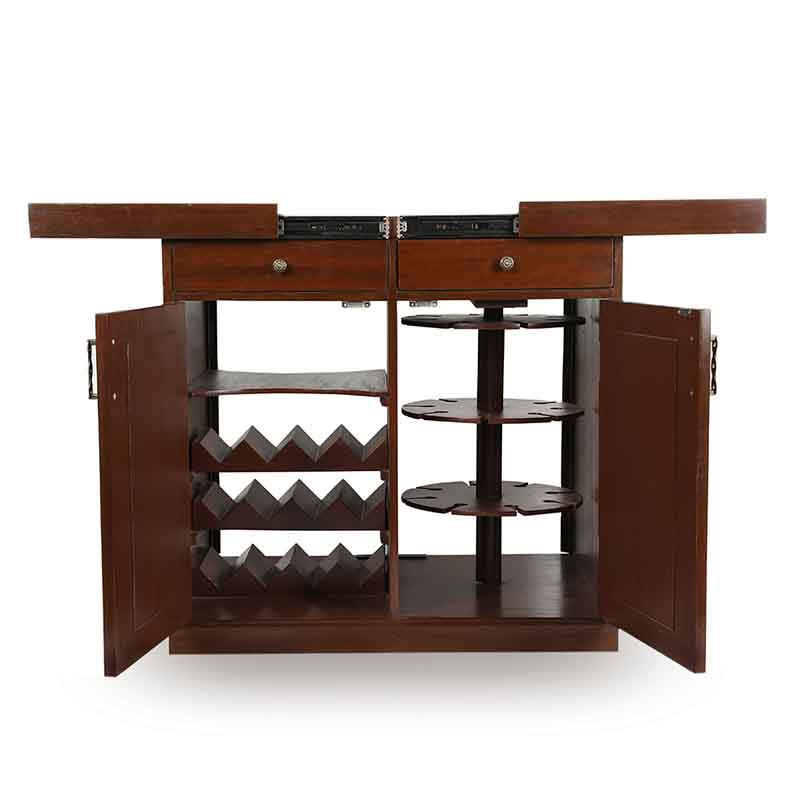 Moorni Extendable Teak Wood Bar Counter with Warli and Dhokra Work
