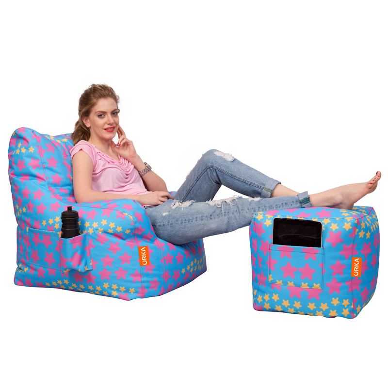 ORKA Arm Chair with Puffy (Filled with Beans - Stars Digital Printed)