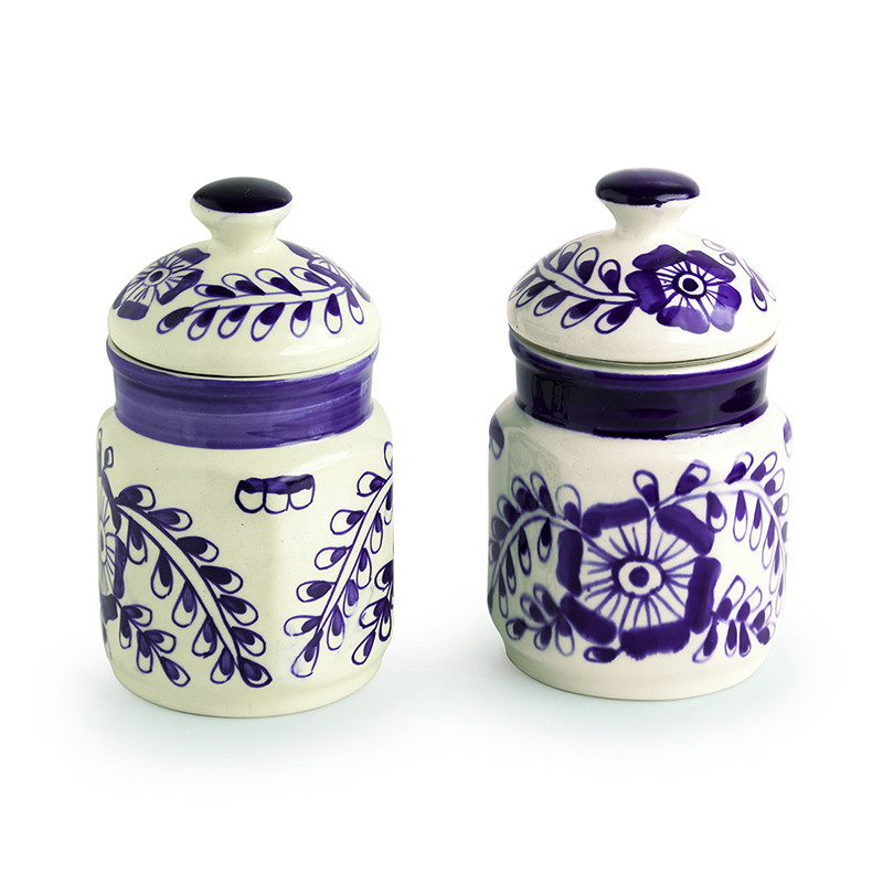 Moorni The Blooming Buds Mughal Hand-Painted Ink Blue Multi Utility Storage Ceramic Jars (6.9 Inch, 500 ML, Set of 2)