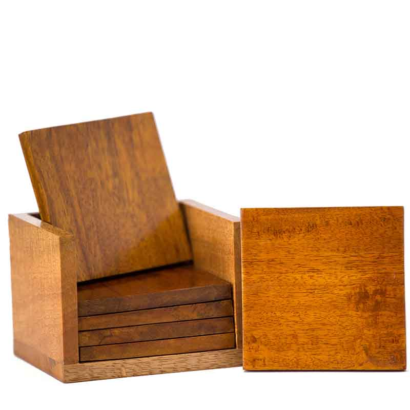 Olha-o Mango Wood Square Coasters with Stand (Set of 6)