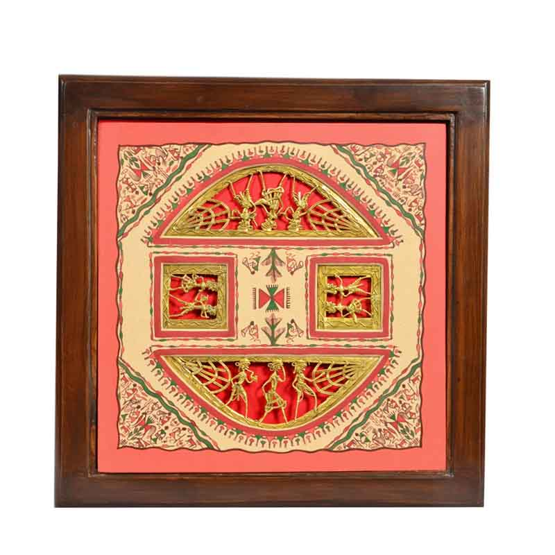 Moorni Teak Wood Side Table with Dhokra and Warli Work - EL-020-002
