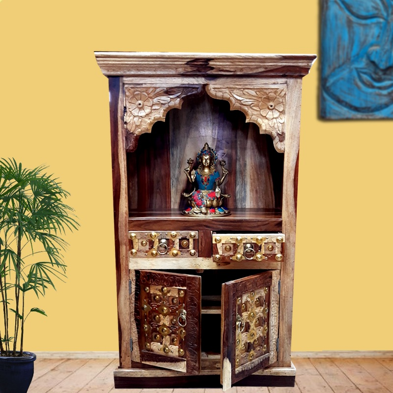 Moorni Home Wooden Temple With Storage Real Wood