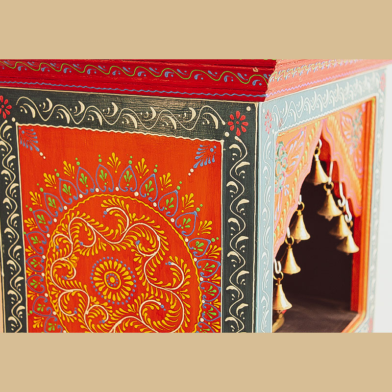 Moorni India Wooden and Brass Temple Multicolored