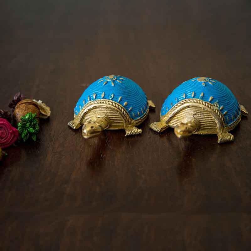 Olha-o Dhokra Tortoise Table Top Set - Sky Blue