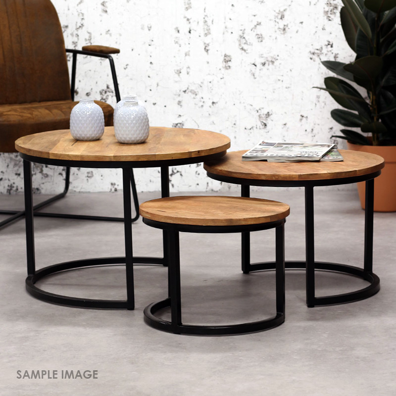Moorni Nested Round Coffee Tables Set 3 Solid Wood and Iron