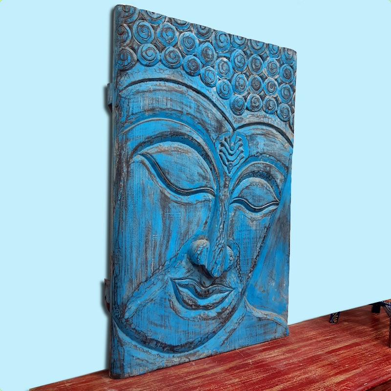 Moorni Large Buddha Wall Accent in Natural Wood Blue Shade