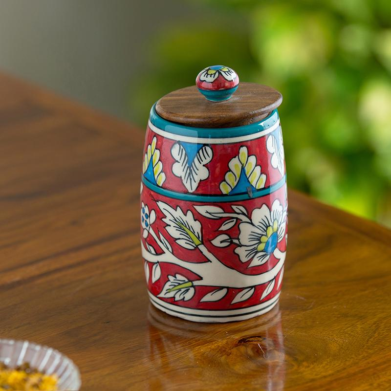 Moorni Mughal Drum Floral Hand-painted Multi Utility Storage Jar & Container In Ceramic (Non-Airtight, 570 ML, 6.1 Inch)