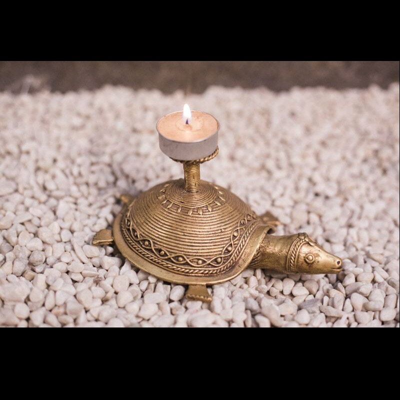 Moorni Dhokra Work Tortoise With Candle Stand