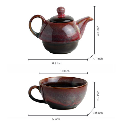 Moorni Kettle-Cup Of Maroon Dusk Studio Pottery Glazed Tea Set In Ceramic
