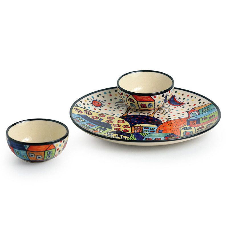 Moorni The Hut Platter Pack Hand-Painted Ceramic Plate With Serving Bowls Set