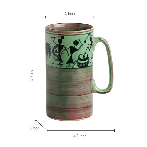 Moorni Two To Tango Warli Hand-Painted Beer & Milk Mugs In Ceramic (EL-005-337)