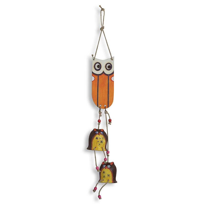 Moorni Twin Owl Shaped Decorative Hanging In Terracotta (2 Owl Face)