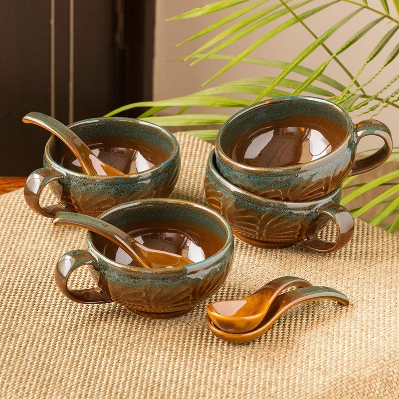 Moorni Amber & Teal Studio Pottery Soup Bowls With Spoons In Ceramic (Set Of 4)