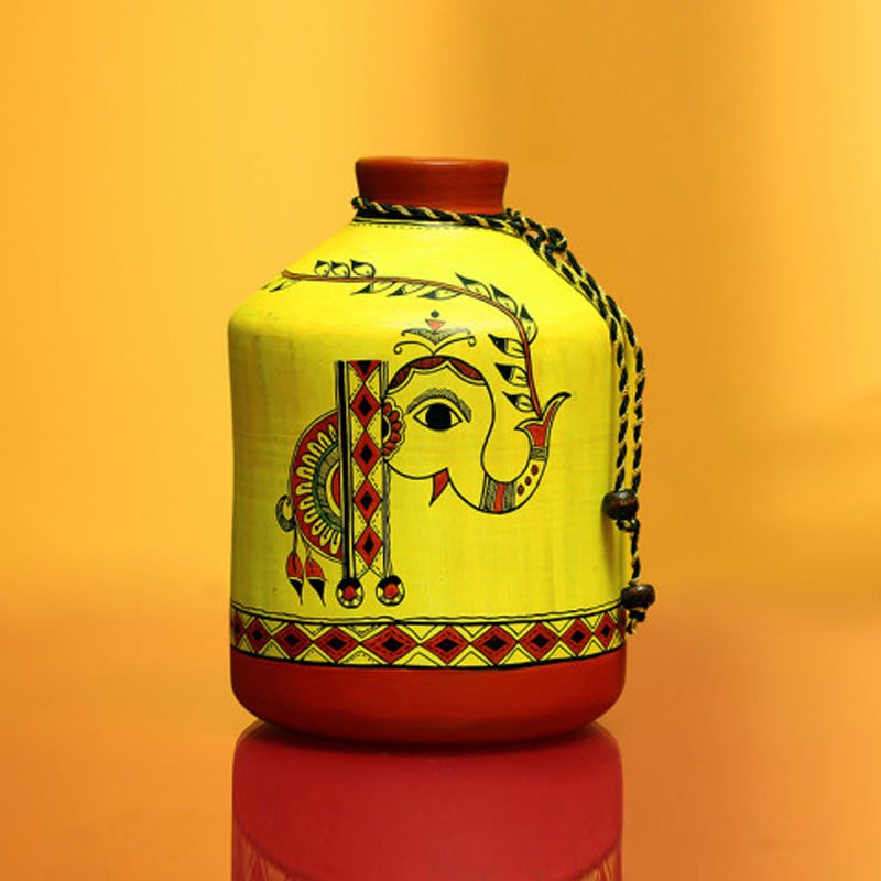 Moorni A Madhubani Morning Bottle Shaped Terracotta EL-006-076Vase (8 Inch) - EL-006-076