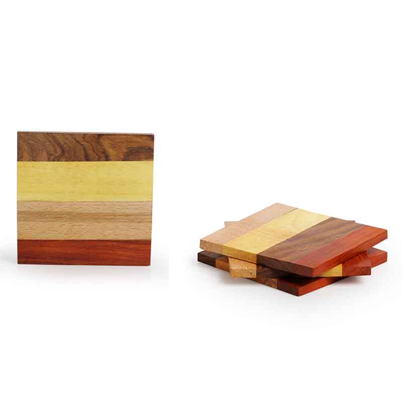 Moorni Multicoloured Wooden Stripes Coasters Set Of 4