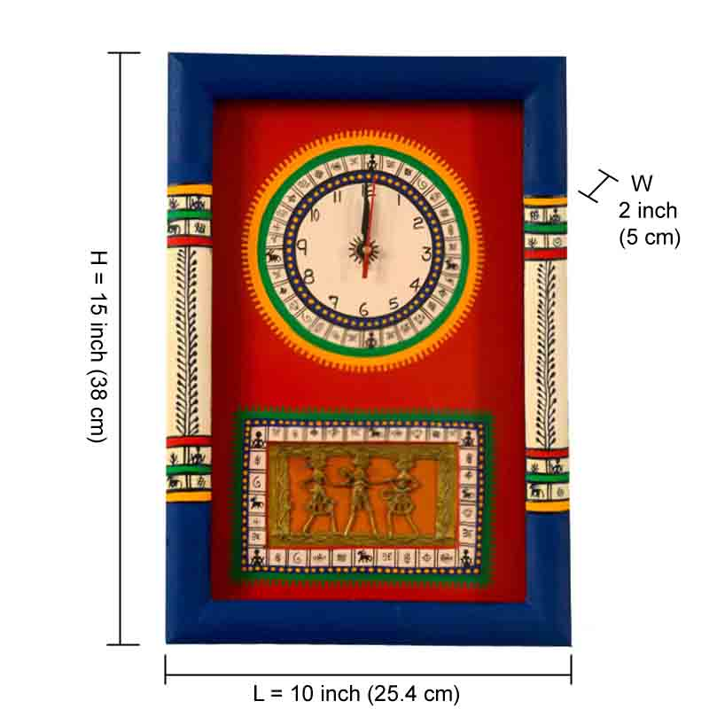 Moorni Warli Handpainted and Dhokra Work Clock 15*10 Inch in Red - EL-001-008