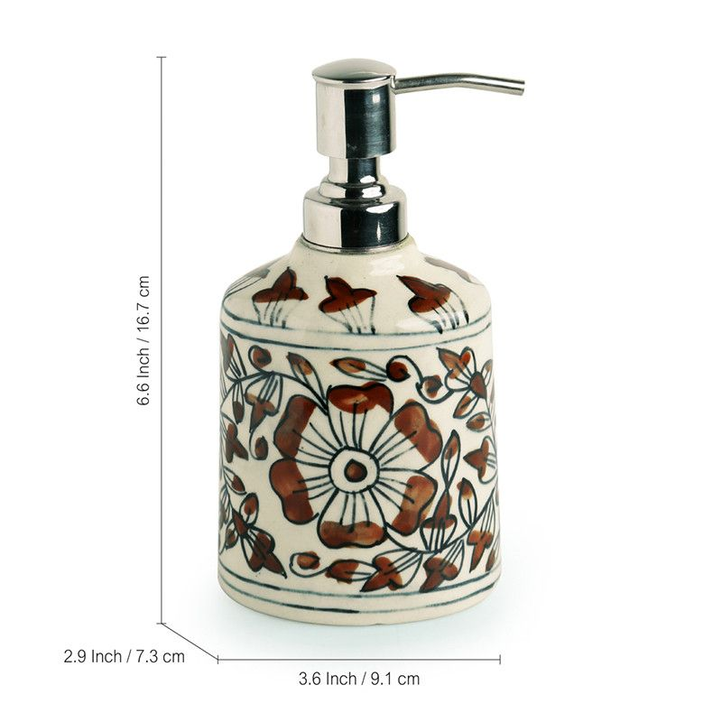 Moorni The Autumn Blooms Mughal Hand-Painted Rust Bown Ceramic Bathroom Accessory Set Of 3