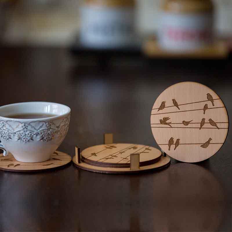 Olha-o Round Coasters with Birds Design Engraved (Set of 4)