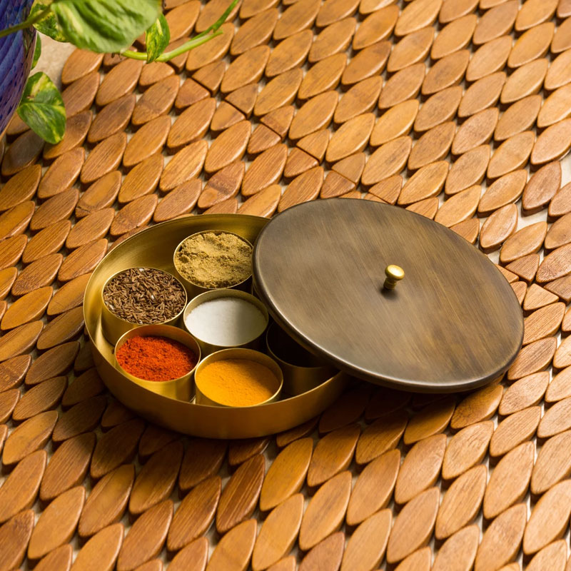 Moorni Masala Blends Handcrafted Round Spice Box in Pure Brass (7 Containers)