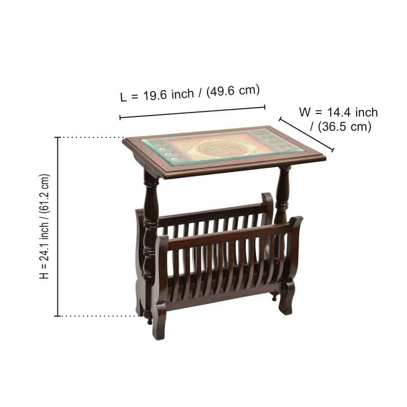 Moorni Teak Wood Magazine Stand Cum Side Table with Dhokra and Warli Work