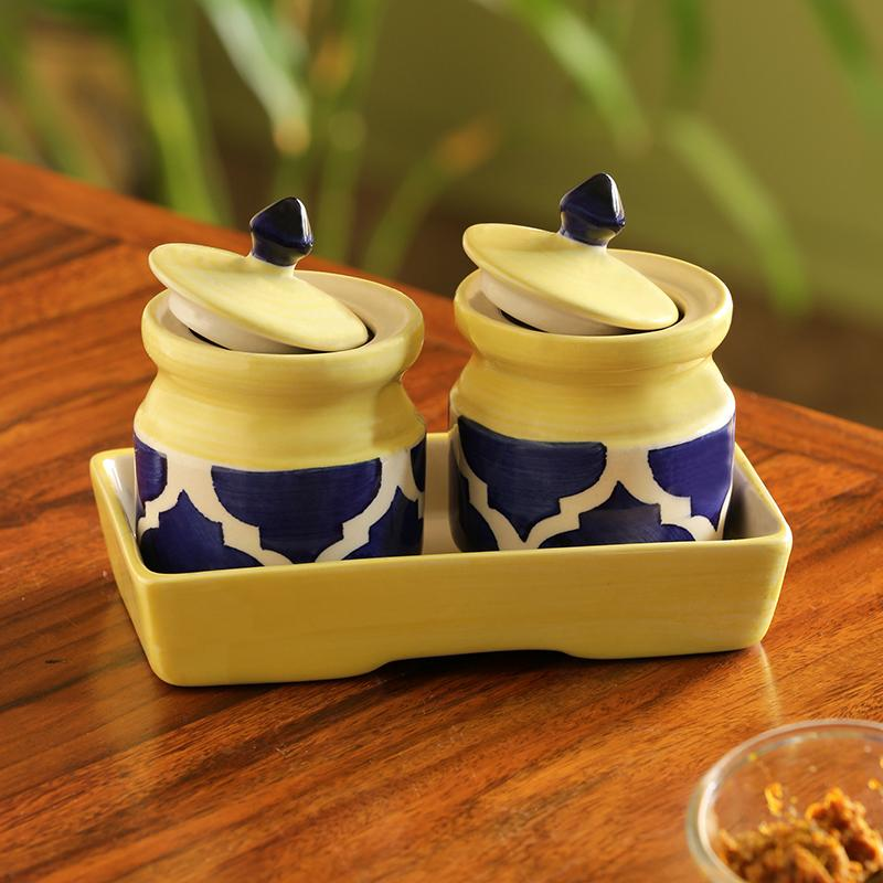 Moorni Pickled-Coupled Handpainted Ceramic Pickle & Chutney Jars (Set Of 2)