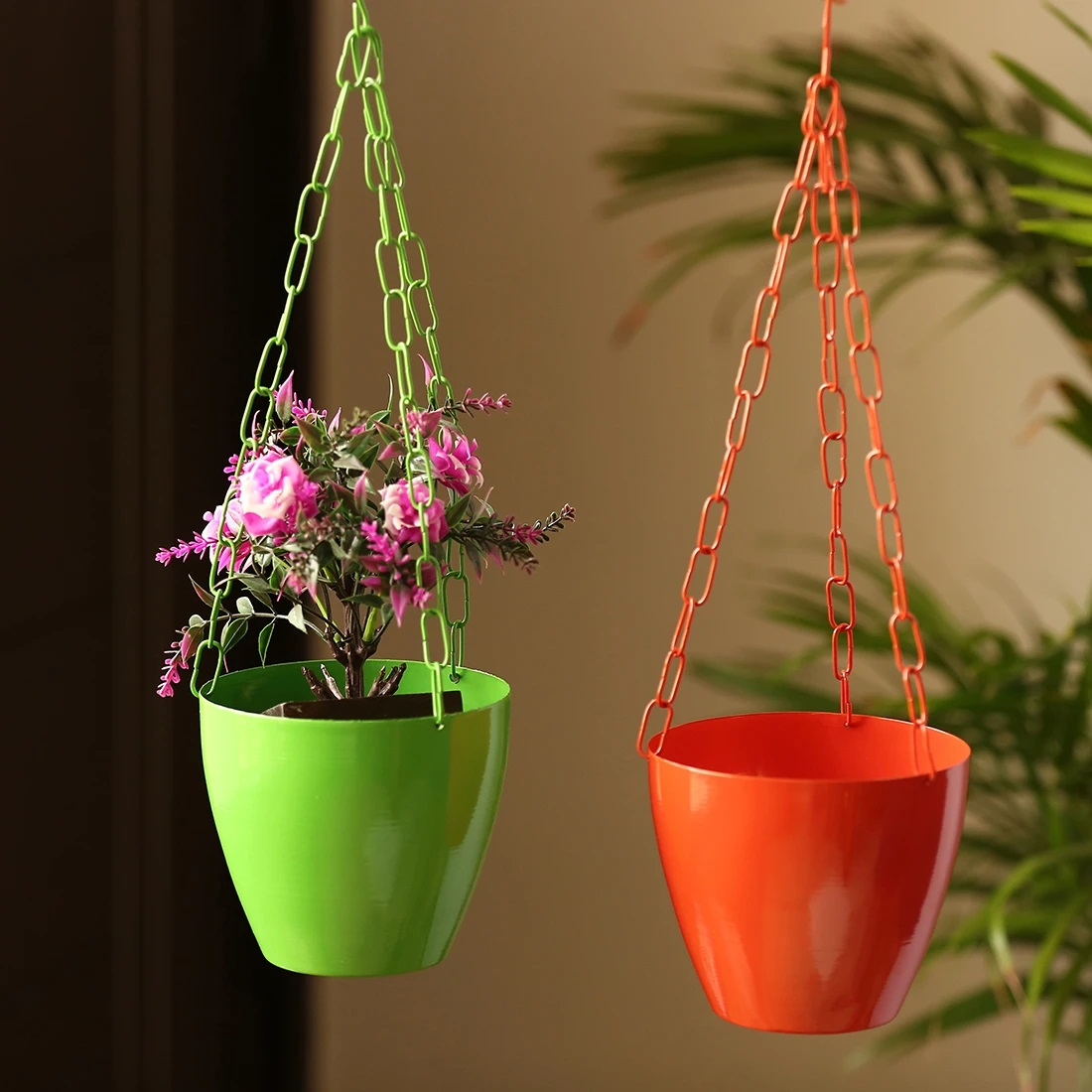 Moorni The Chained Frustums Hanging Planter Pots With Chain In Iron (Set of 2)