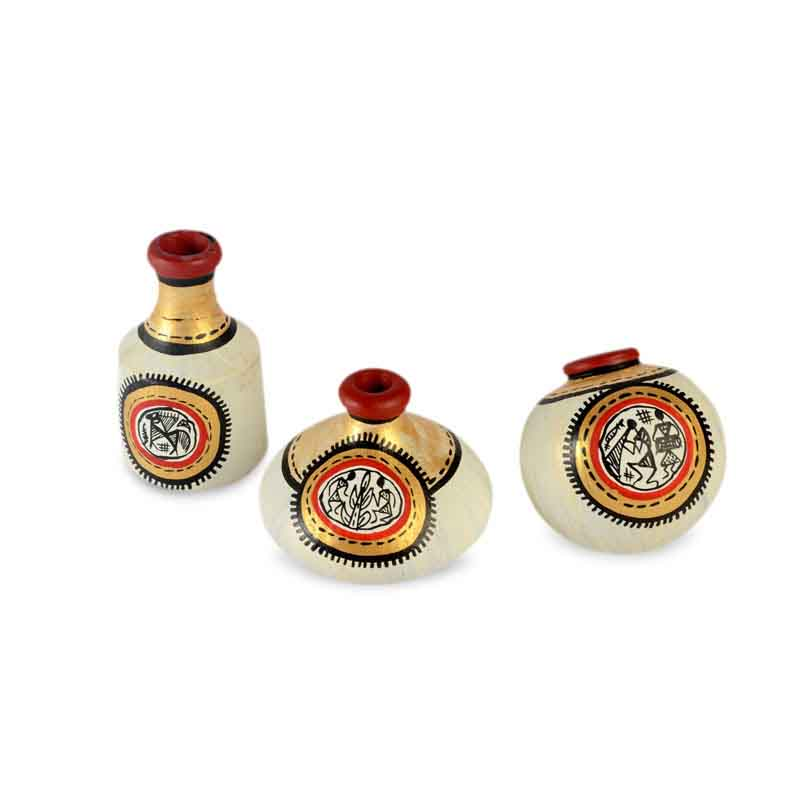 MoornEL-004-003i Terracotta Warli Handpainted Pots Natural White Set of 3