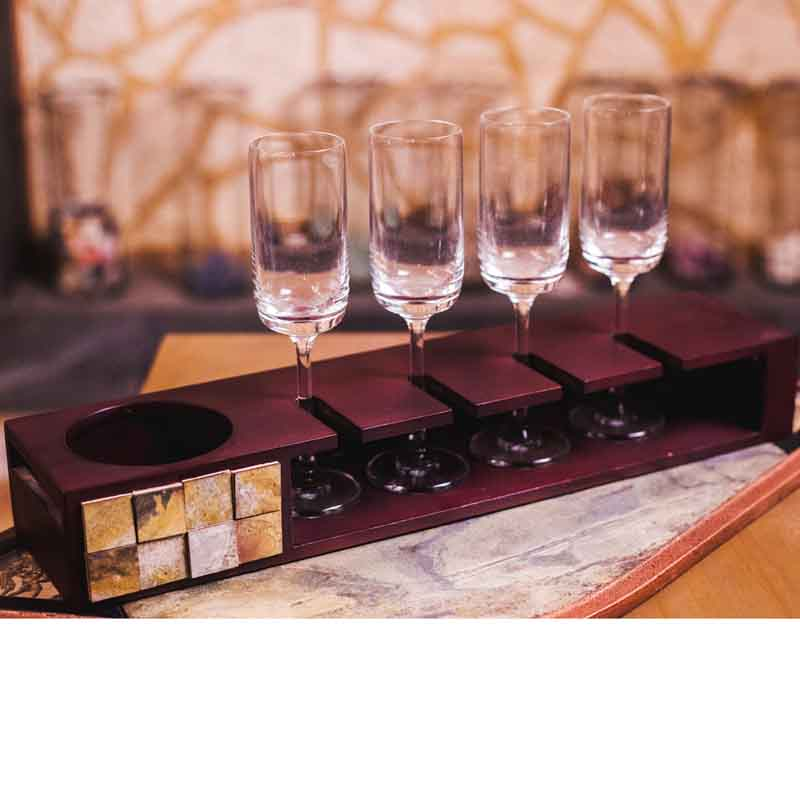 Olha-o Tribe Champagne Tray with Glasses