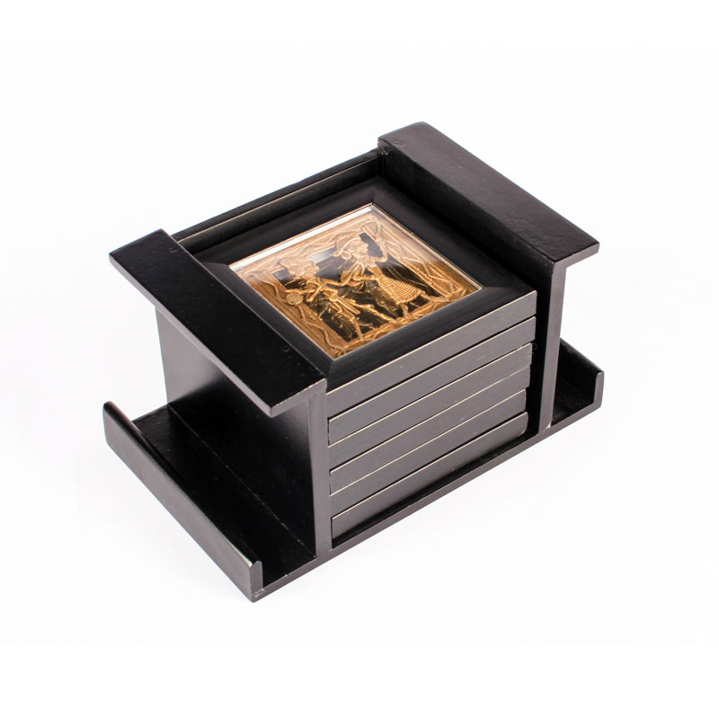 Olha-o Tribe Set of 6 Coasters with Stand Black