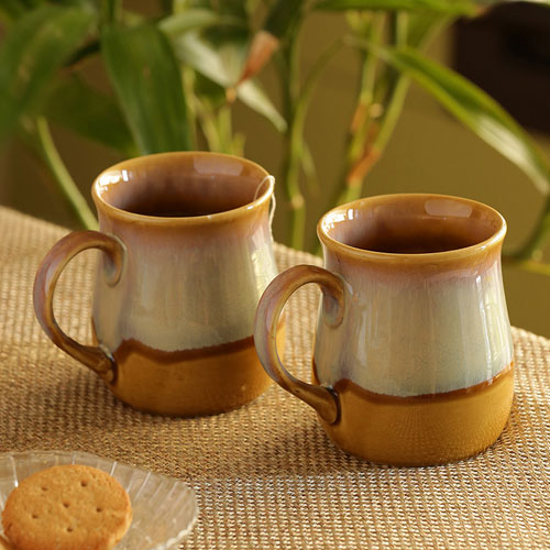 Moorni The Milky-Way Canvas Tea-Coffee & Milk Mugs Dual-Glazed Studio Pottery In Ceramic (Set Of 2)