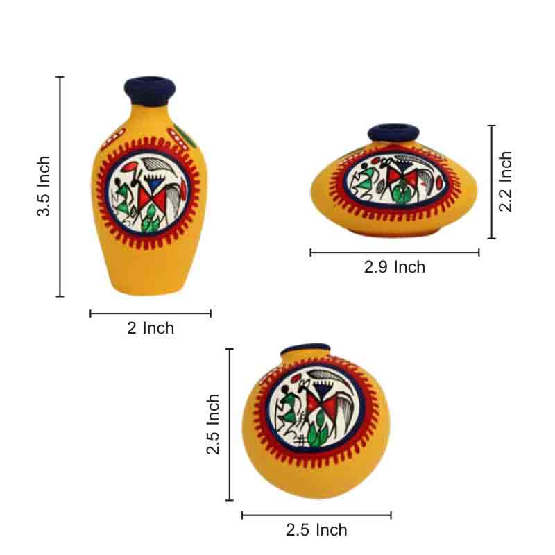 Moorni Terracotta Warli Handpainted Pots Yellow Set of 3 - EL-004-010