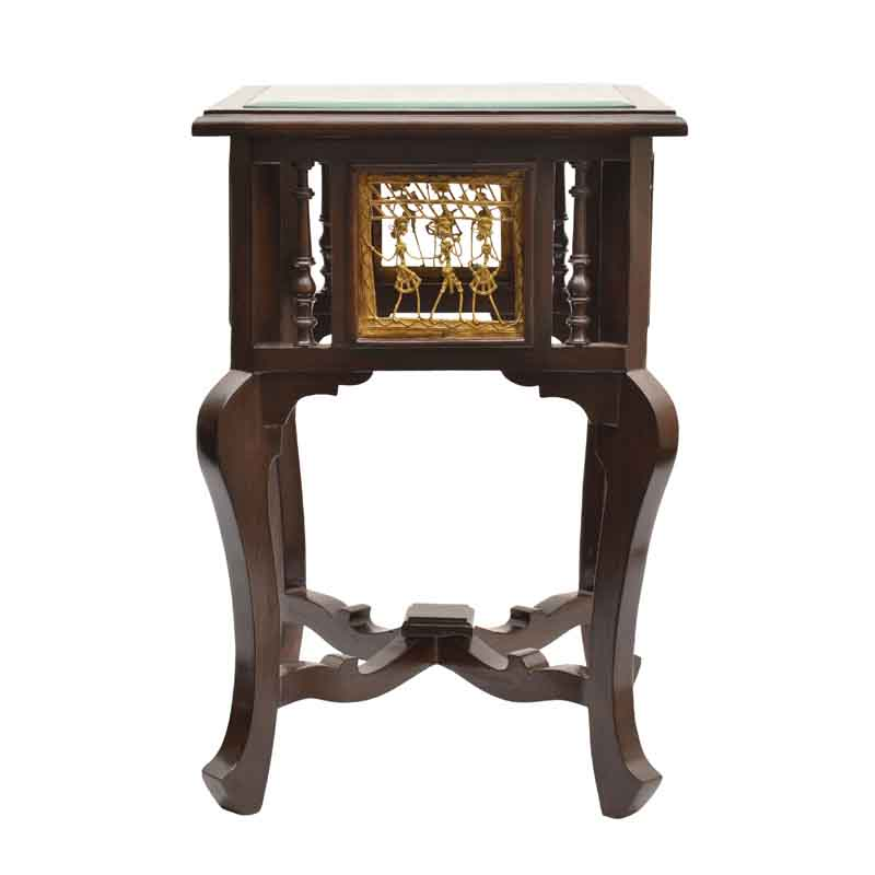 Moorni Teak Wood Corner Table with Dhokra and Warli Work - EL-020-004