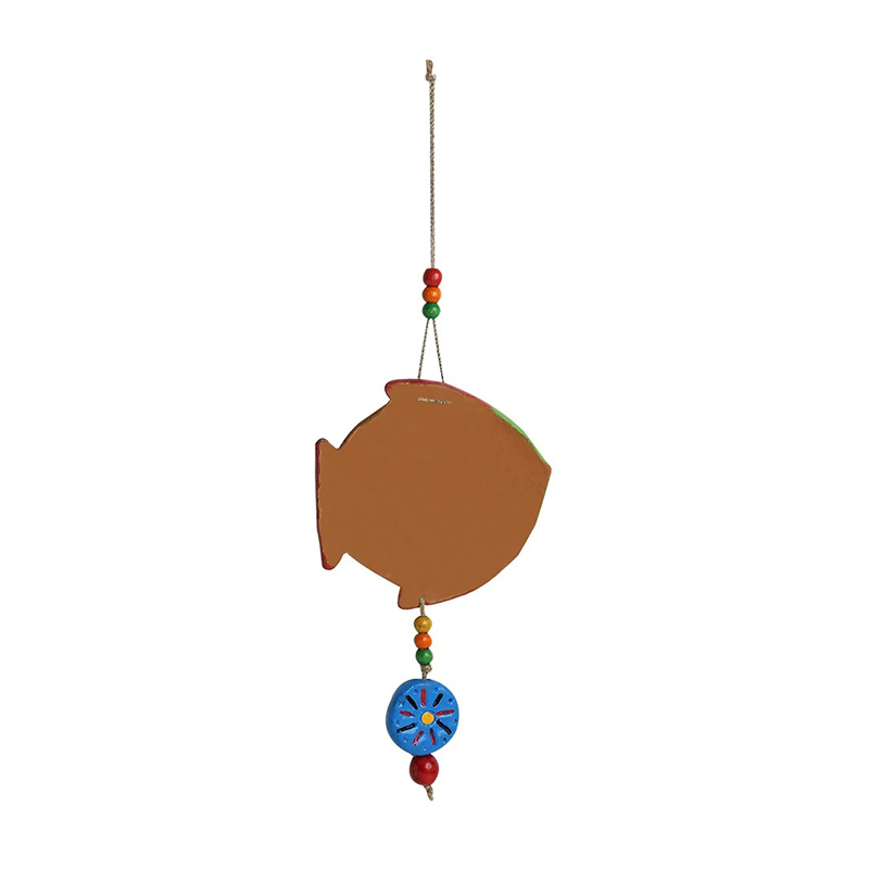 Moorni The Fish Twins Handmade & Hand-painted Decorative Wall Hanging In Terracotta (Set of 2)
