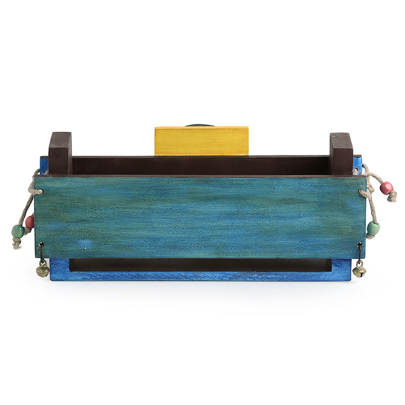 Moorni Blue Wooden Magazine or Newspaper Stand With Dhokra Art