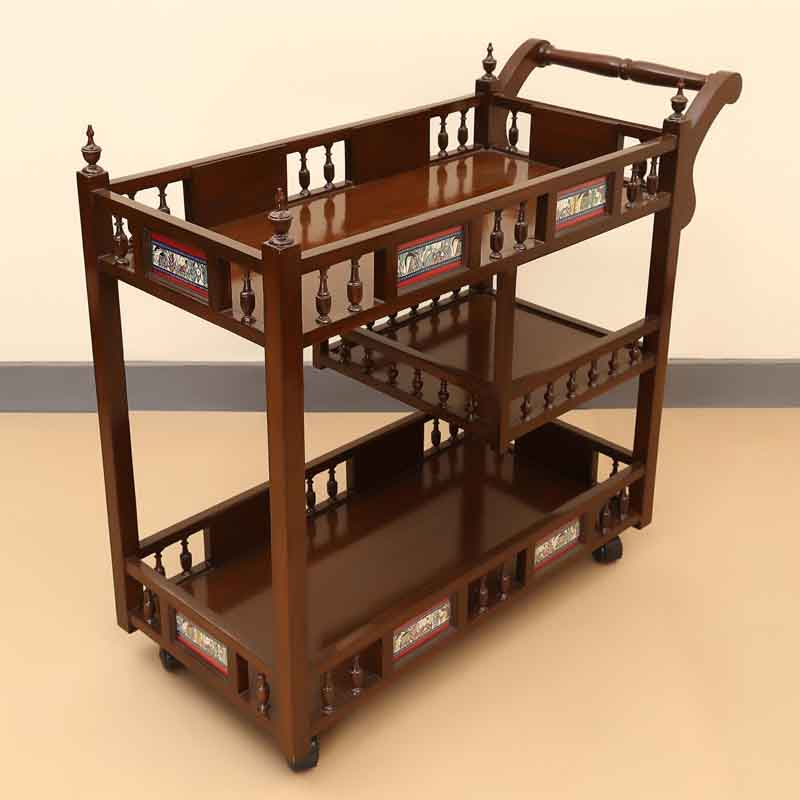 Moorni Teak Wood Food Cum Bar Trolley with Dhokra Work