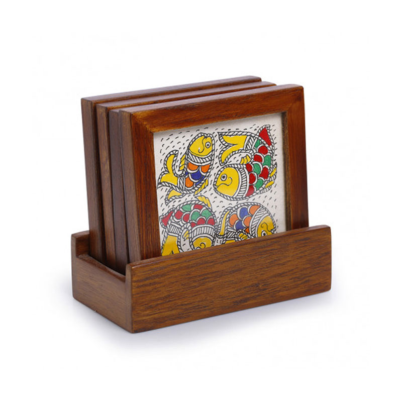 Moorni Water Wildlife Mithila Hand-Painted Coasters With Stand In Teak Wood (Set Of 4) - EL-005-307