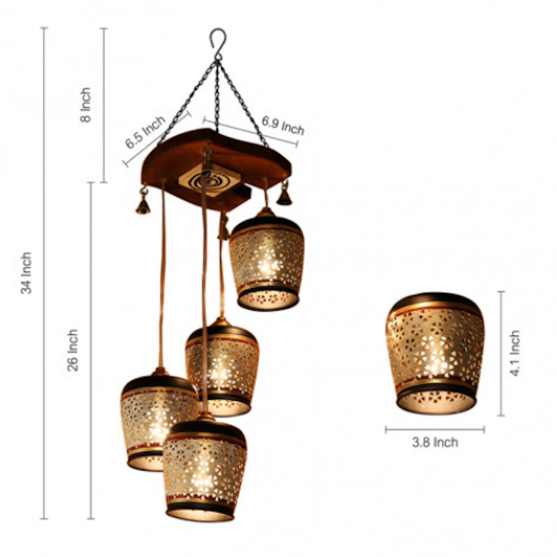 Moorni Barrel Shaped Chandelier With Metal Hanging Lamp Shades In Gleaming Golden (4 Shades)