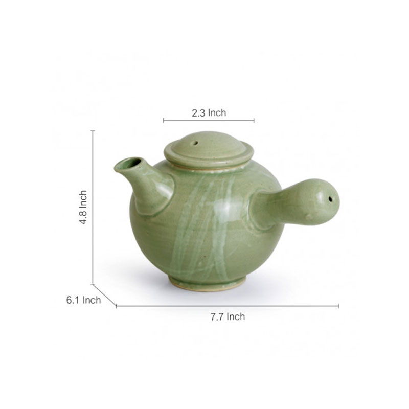 Moorni Jade Green Ceramic Tea Kettle (Studio Pottery) - EL-005-288