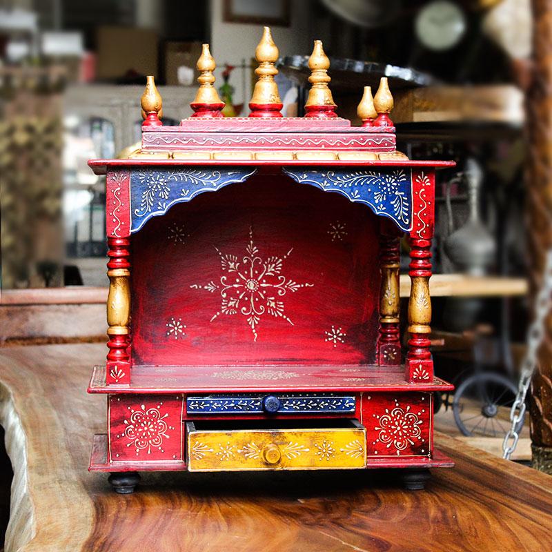 Moorni Handmade Wooden Temple (Multicolor)