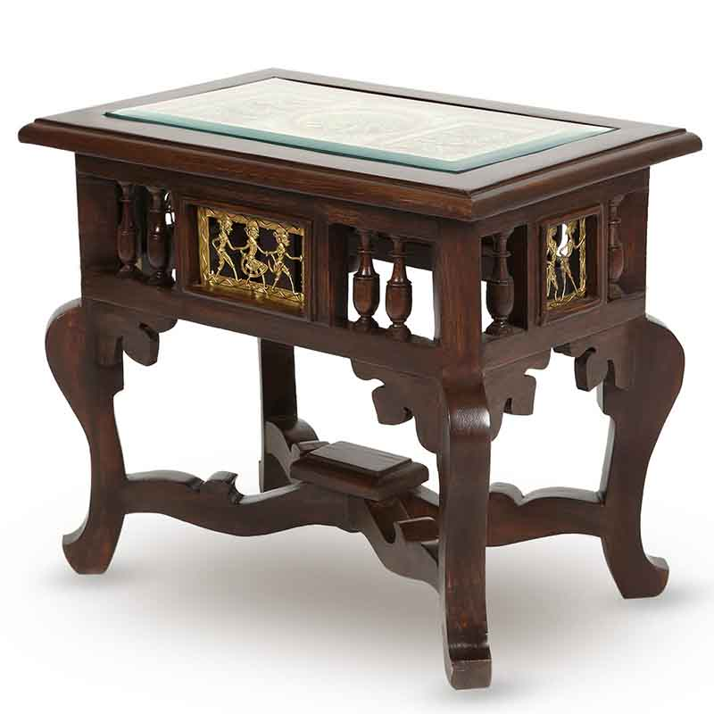 Moorni Teak Wood Warli and Dhokra Work Side Table - EL-020-110