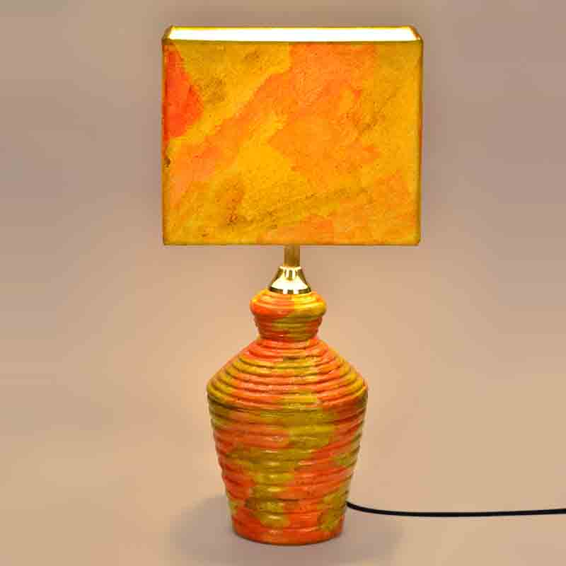 Moorni 15 Inch Handpainted Rectangular Shade Terracotta Lamp