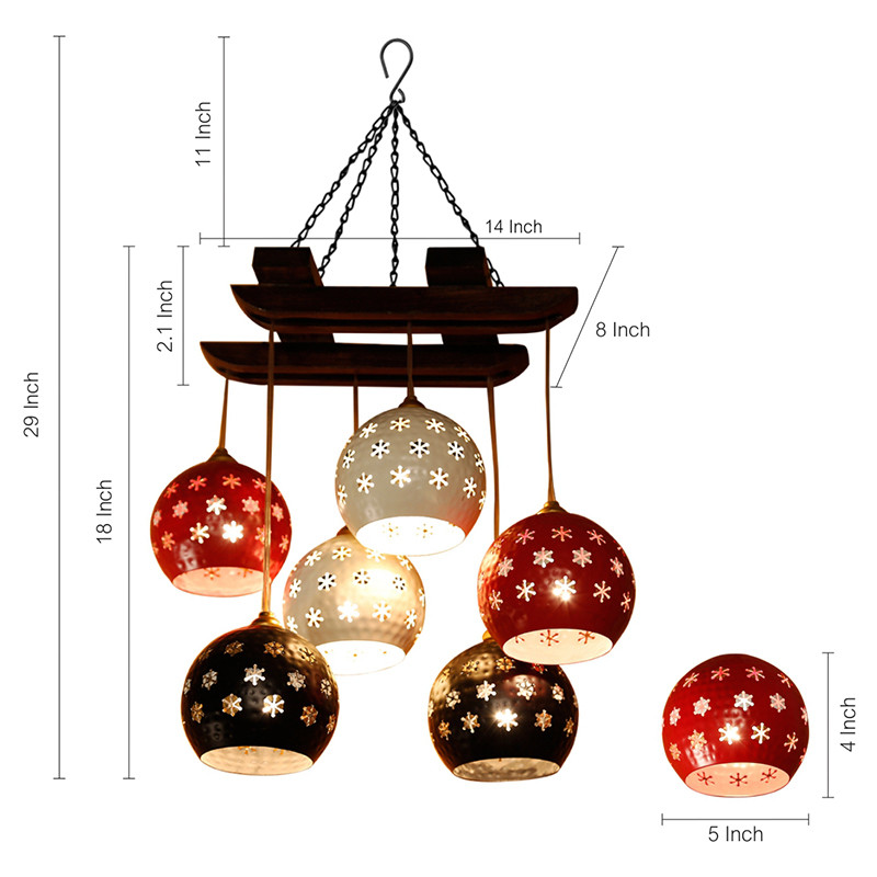 Moorni Dome Shaped Chandelier With Metal Hanging Lamp Shades (6 Shades)